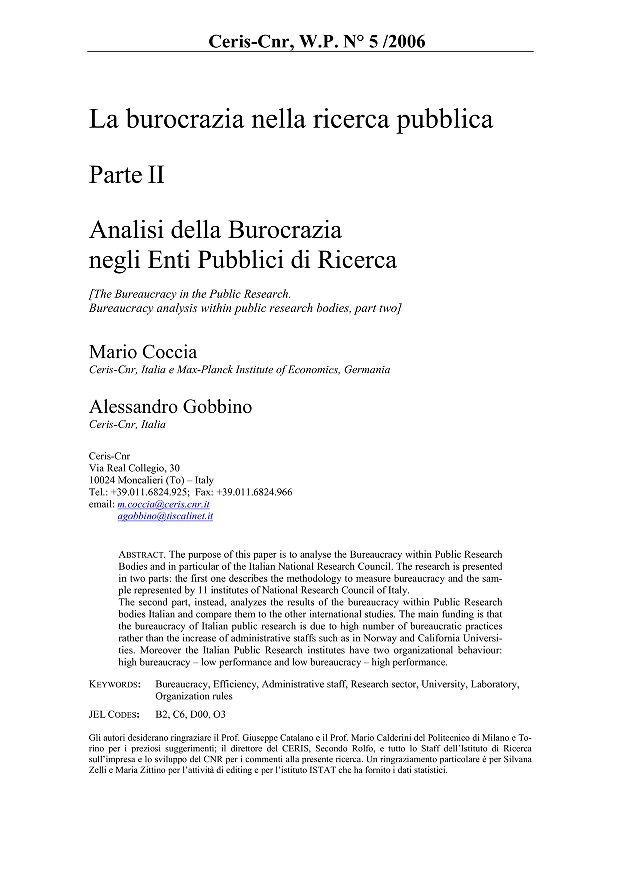 Analisi della Burocrazia negli Enti Pubblici di Ricerca  Parte II